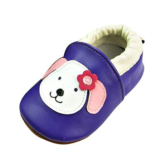 YFCH Baby Jungen/Mädchen Weich Lederschuhe Leder Babyschuhe Krabbelschuhe Lauflernschuhe Hausschuhe, Weiß Hunde auf Violett, 0-6 Monate(Label: S)