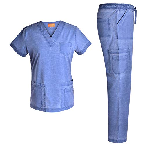 Women V Neck Stretch Set - Jeanish Washed Soft Women Top and Pants Workwear Uniforms JS1607 (Riviera, XL)