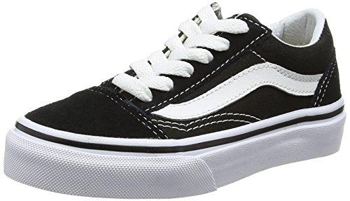 Vans Kids Old Skool Black/True White Skate Shoe, Black/White, 3 Little Kid