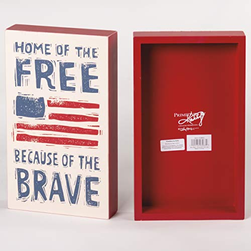 Primitives by Kathy Patriotic Box Sign, 7 x 12-Inches, Home of The Free Because of The Brave
