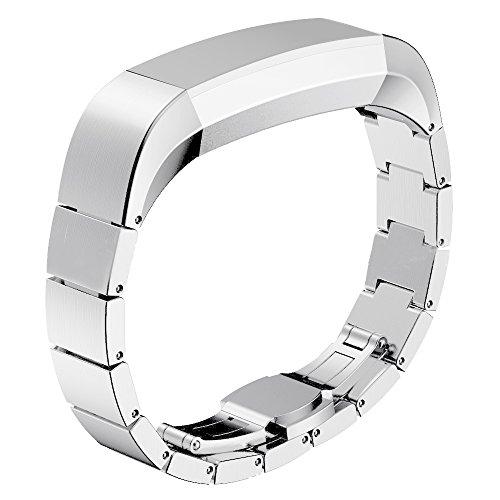 Moda de acero inoxidable reloj de pulsera de reemplazo correa banda para Fitbit alta HR