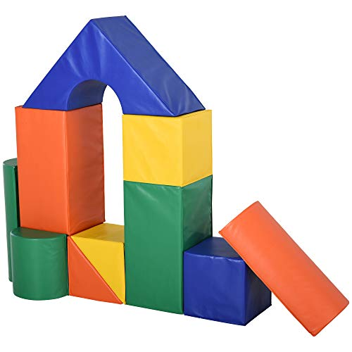 HOMCOM Bausteinset Schaumstoff Bausteine Bauklötze Bauspielzeug für Jungen und Mädchen Schaumstoffblöcke für 1–3 Jahre alt Kinder 11er-Set PU EPE