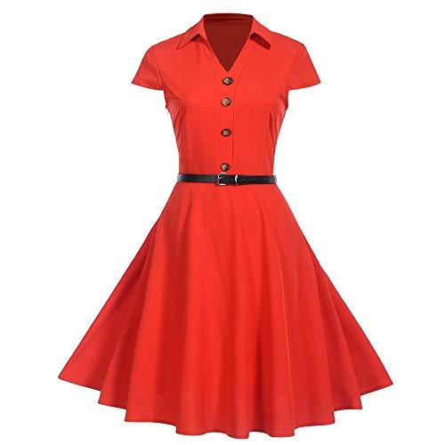BaZhaHei Vestidos de Mujer Falda Mujeres Vestido de Fiesta 50S 99S Swing Pinup Retro Ama de casa Informal Partido Bola La Sra. Vintage Imprimir Hepburn Viento Vestido de Cintura