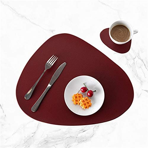 Amazon.com: MZXUN 4 PCS Black PU Placemats for Table Waterproof Non-Slip Insulation Leather Place Mat Set Nordic Style Christmas Coaster Cup Mat (Color : Wine, Size : Set of 4): Home & Kitchen