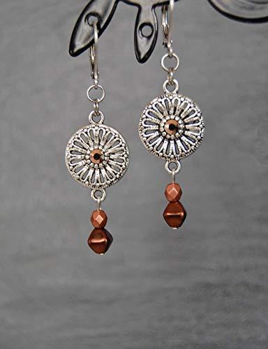 Pendientes minimalistas de acero inoxidable  cristal de Swarovski en oro rosa  cuentas de vidrio marrón y cobre  joyería fina discreta  idea de regalo