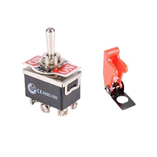 oshhni Interruptor de Palanca de Luz de Tablero Automático de 12V DPDT + Cubiertas de Misiles