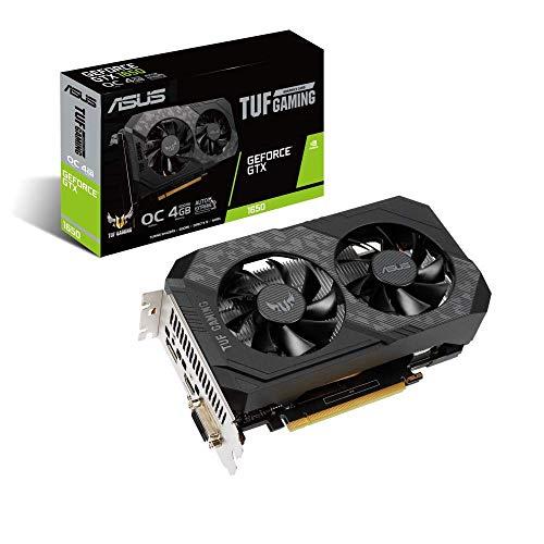 Tarjeta gráfica ASUS TUF Gaming NVIDIA GeForce GTX 1650 OC Edition PCIe 3.0, 4GB GDDR6, HDMI, DisplayPort, DVI-D, 1 Conector de 6 contactos, Resistencia al Polvo IP5X, Lubricante de Grado Espacial