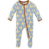 KicKee Pants Print Footie with Zipper, Fitted Long Sleeve Pajamas, Ultra Soft Everyday One-Piece Loungewear (Pond Rubber Ducks - Newborn)