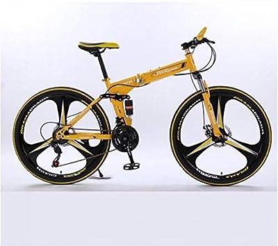 26in Folding Mountain BikeMountain Bike, Unisex Folding Outdoor Bicycle,Aluminum Full Suspension Road Bike 21 Speed ??Disc Brakes, 700C-?U.S. Shipping? (Y-A07)