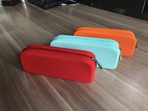 GORGCASE Silicone Pen Pencil Make up Bag with Zipper, Water Leak Resistant,Toiletry Makeup case Holder, Essentials Cosmetic Pouch Organizer Drop for Personal Item,School, Gift, Student 3 Pieces