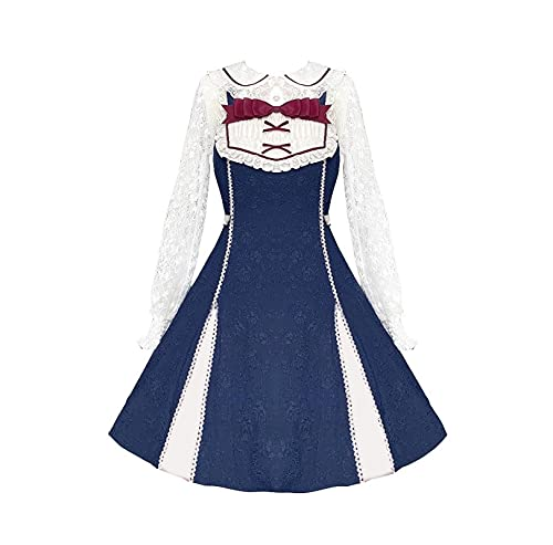 JLCYYSS Vestido de Lolita dulce para nias OP Faldas de corte de fiesta Kawaii con mangas abullonadas de encaje, disfraz de Cosplay L BaiXue OP