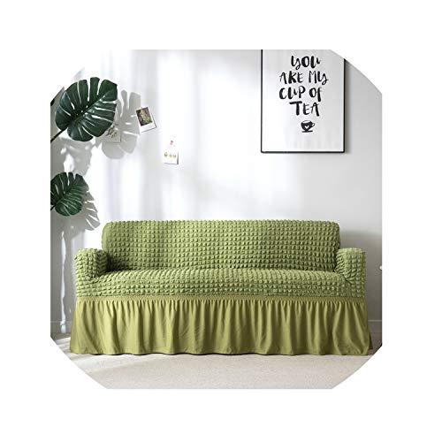 Jacquard-Sofa-Abdeckung mit Rock europäischen Schnitt Couch Sofabezüge für Wohnzimmer Sessel Sofabezüge Elastic Stretch,Grün,AB 120-170cm
