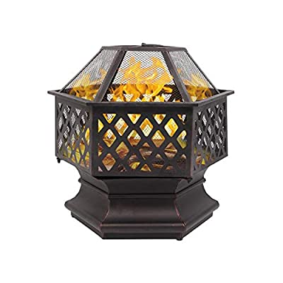Fire Pits Outdoor Wood Burning,Cooking BBQ Grill Grate,Firepit Bowl with Spark Screen,Patio Garden Lawn Camping Picnic Bonfire Stove Heaters for Outside with Log Poker and Cover,A