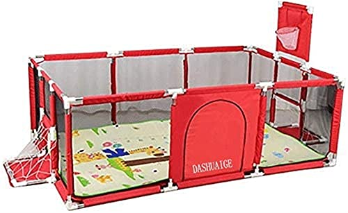 """DASHUAIGE Baby Playpen, Large Infant Park for Small Babies for Twin Beds, Folding Playground with Basketball Mat and Hoop, 26"""" Red"""