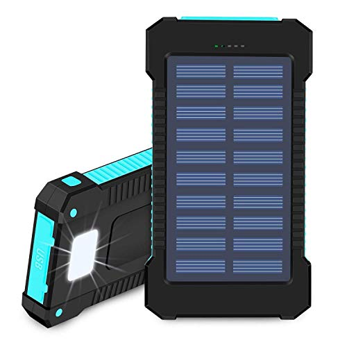Hidver Solar Phone Charger 20000mAh Portable Power Bank Waterproof Battery Packs with Dual Ports, Compass, Flashlight for Camping Solar Panel for...