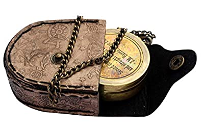 MAH Second Star to The Right J. M. Barrie, Peter Pan Engraved Brass Compass with Leather Case. C-3279