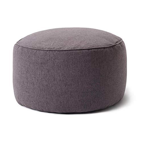 Lumaland Comfort Line Sitzsack-Hocker 25 x 45 cm - Indoor - mit passendem Sitzsack kombinierbar - extra Starke Nähte, pflegeleicht, robust - Runder Sitzpouf, Sitzkissen, Bean Bag Pouf - Dunkelgrau