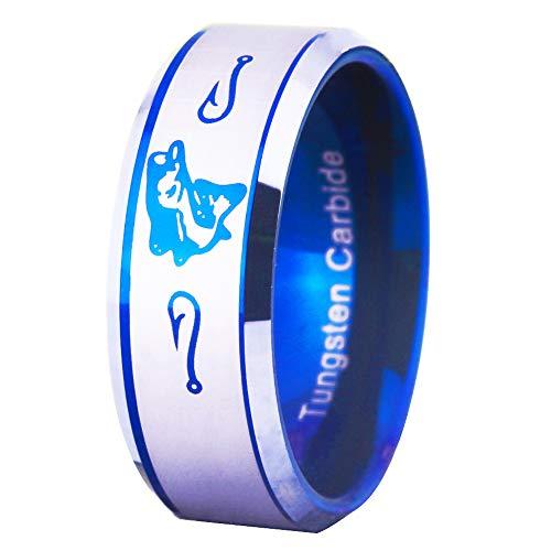 FREE Custom Engraving Blue Tungsten Wedding Bands Bass Ring Fishing Ring Fish Hooks Ring Hunting Ring (11)