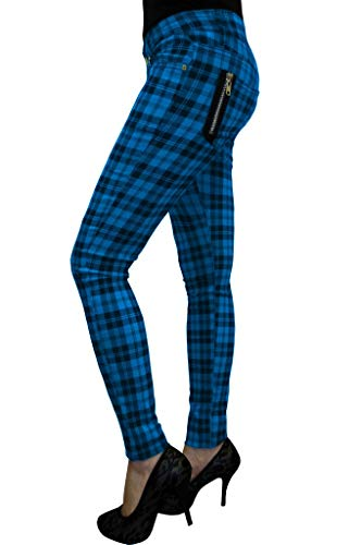 Banned Tartan Karo Rock Punk Skinny Hose - Blau (EU 34 (UK 8/26