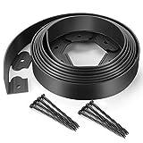 ZDYNASTY - Bordo flessibile in plastica per prato da giardino, con 15 picchetti di fissaggio per prato, bordo per aiuole, 5 m, colore: nero (5)