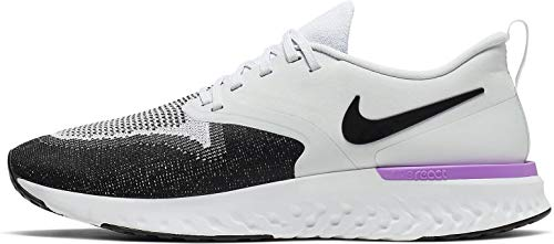 Nike Odyssey React 2 Flyknit Mens Running Trainers AH1015 Sneakers Shoes (UK 9 US 10 EU 44, Pure Platinum Black White 009)