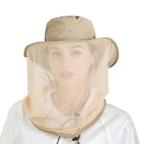 HunterBee Sombrero de apicultura caqui de abejas de apicultura/Mosquito/Mosquito/Malla de insecto cara...