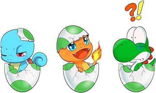 Okiwoki T-Shirt Noir Yoshi - Pokémon parodique Bébé Yoshi Face à Salamèche et Carapuce : Bizarre Ces Deux là !! (Parodie Yoshi - Pokémon)