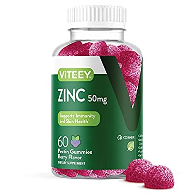 Zinc 50MG Gummies for Healthy Immune Support - for Adults and Teens - Dietary Supplement, Pectin Based, Vegan, Gelatin Free, Gluten Free, Vegetarian, Berry Flavor Chewable Gummy