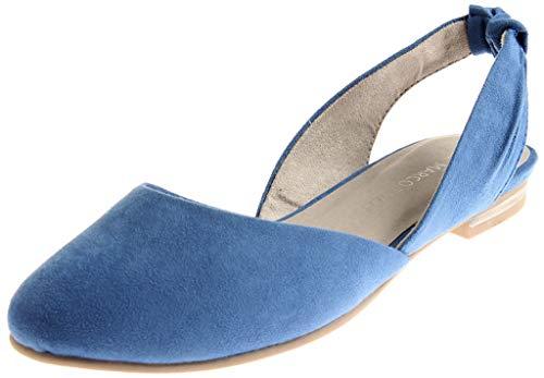 MARCO TOZZI 2-29407 Damen Ballerinas Sommerschuhe Sling Back Schuhe Azure EU 37