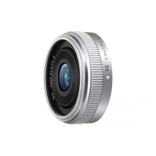 Panasonic H-H014AE-S - Objetivo Lumix G para Micro Cuatro tercios (Distancia Focal Fija 14 mm, Apertura f/2.5-22, Zoom óptico 0.1x,diámetro: 46 mm), Plateado