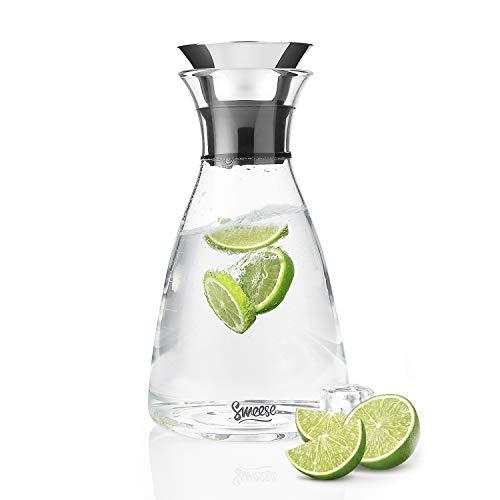 Sweese Karaffen - 1 Liter Wasserkrug Hitzebeständigkeit Wasserkaraffe mit Edelstahl und Silikon Tropf-Freie Lippe, Glaskaraffe Serving Hausgemachte Säfte und Eistee, Wein oder Glas Milchflaschen