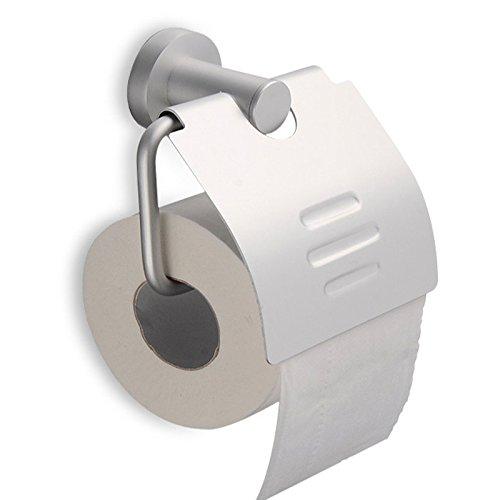 Premium Design Toilettenpapierhalter, matt-gebürstet, rostfrei, hochwertiger Klopapierhalter mit Deckel fürs WC
