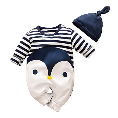YEMOCILE Pinguin Design Baby Jungen Mädchen Strampler mit Hut Baby Pyjamas Säugling Outfit Overall Kleidung