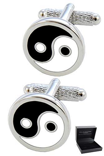 COLLAR AND CUFFS LONDON - HOCHWERTIGE Manschettenknöpfe mit Geschenk Box - Yin und Yang-Symbol - Gleichberechtigung - Stilvolle Messing - Schwarz Weiß und Silber Farben