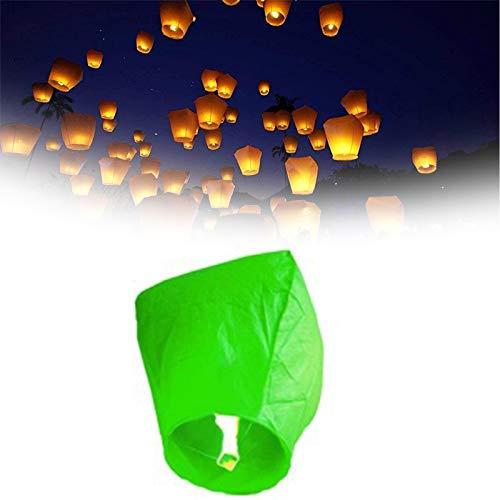 SYSP 10 Kongming Lantern, Eco-Friendly Sky Lantern, para Navidad, Año Nuevo Chino, Bodas y Fiestas,Verde