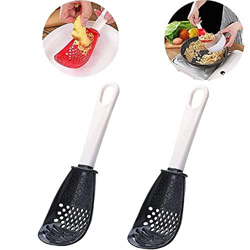 KCRPM Multifunctional Kitchen Cooking Spoon, Silicone Skimmer Slotted Spoon, for Draining, Mashing, Grinding, Garlic Press Crusher (Black,2PCS)