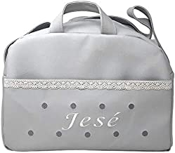 danielstore- Bolso Personalizado Bebe Carrito bebe con nombre bordado. Levante gris