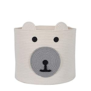 """InfiBay Cotton Rope Storage Basket with Cute Bear Design, Woven Laundry Basket with Handles, Baby Nursery Organizer for Toys, Blanket, Clothes, Towels, 12""""(D) x 11""""(H)"""