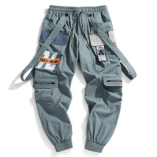 Herren Bänder Cargo Pants Herren Harajuku Casual Jogger Track Streetwear Hose Hip Hop Haremshose Techwear Green 2XL
