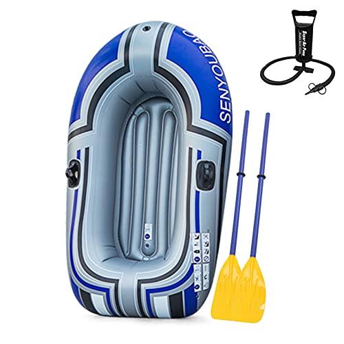 Roeam Schlauchboot 1 Person, Kajak mit Luftpumpe und Paddel, Tragbares Verdickung PVC Aufblasbar Boot für 1-2 Personen