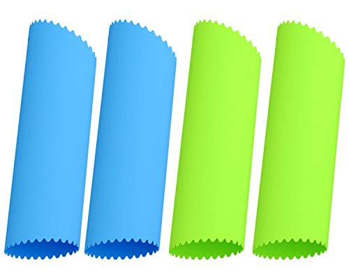 Silicone Garlic Peeler - Acerich 4 Pcs Silicone Garlic Roller Peeling Tube Easy Useful Kitchen Tools (Blue & Green)