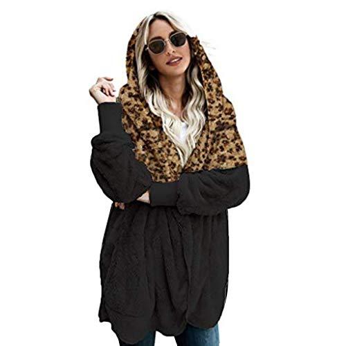 Alwayswin Damen Plüsch Strickjacke mit Kapuze Winer Warme Cardigan Leopard Splice Longstrickjacke Plus Size Mode Jacke Outwear Plus Samt Langen Mantel Mit Tasche Hoodie