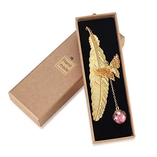 Segnalibro in metallo con piuma e ciondolo a forma di farfalla 3D e fiori secchi in vetro, regalo per donne, Natale, compleanni, ragazze, amici, mamma, coppie, regali per insegnanti
