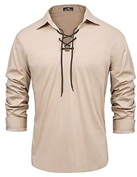 Mens Pirate Shirt Renaissance Lace up Scottish Jacobite Ghillie Tops  L Khaki