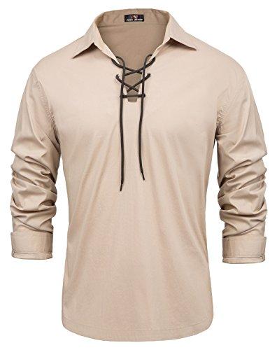 Men's Cool Lapel Collar Cotton Jacobite Ghillie Shirts Top Daily Look XL Khaki