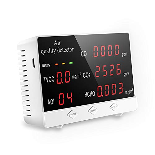 Air Quality Monitor Accurate Tester for CO2 Formaldehyde(HCHO) TVOC/AQI Multifunctional Air Gas Detector Real Time Data&Mean Value Recording for Home Office and Various Occasion.