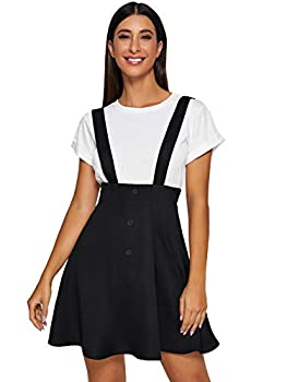 SheIn Women s Basic Solid Button Decor Flared Skater Pinafore Suspender Overall Skirt Small Black