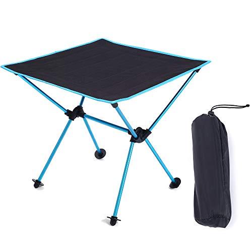 FEZBD Mesa de camping portátil ligera compacta de aluminio plegable para acampar al aire libre, senderismo y picnic
