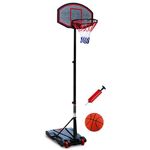Naissgo Potable Basketball Set Adjustable Portable Basketball Set, Basket Hoop Basketball&Ball Pump,...
