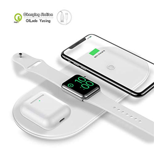 Kabellose Ladestation / 3 in 1 Tragbare kabellose Ladestation/Qi Schnelle kabellose Ladematte Kompatibel mit Airpods Apple Watch-Serie 1 2 3 4 5 iPhone 11 Pro Max 11 Pro 11XR Xr X 8 Plus,White